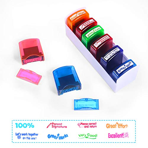 Self-ink Colorful Ad-free Motivation School Rating Stamp, Office Stationery Stamps for Teachers, Comment Job Stamp Set and Storage Tray (8 sets)
