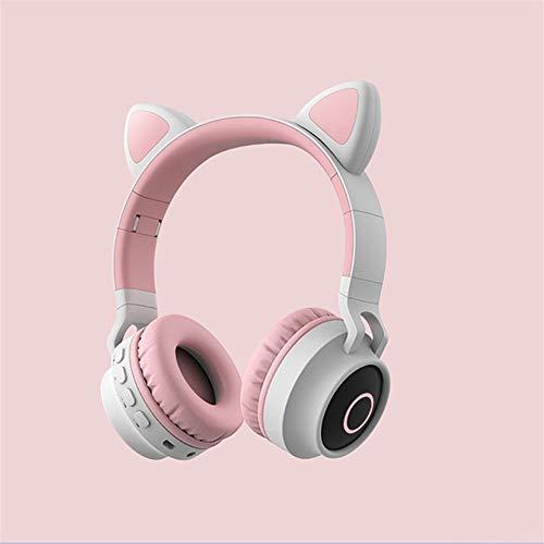Zenly Los niños inalámbrica Bluetooth estéreo Plegable Sonido Auriculares Gato Precioso del oído llevó la luz (Color : Gray Pink)