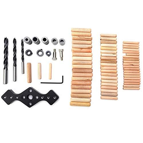 Localizador de perforadores de orificios rectos Herramientas de posicionador de orificios de carpintería negras con puntas de madera para taladro
