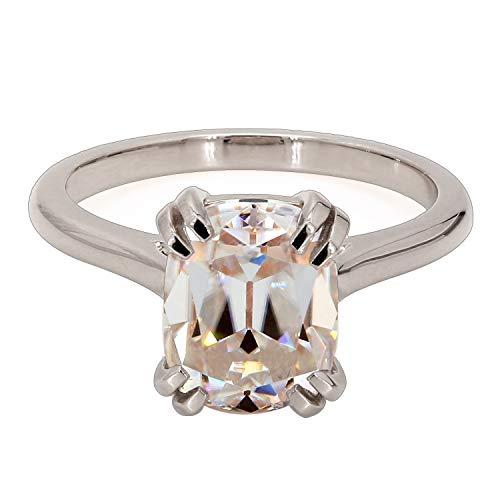 Diamondrensu Anillo de compromiso solitario de 2,57 quilates con cojín alargado OEC Moissanite diamante anillo de boda, anillo de doble garra con montura de catedral