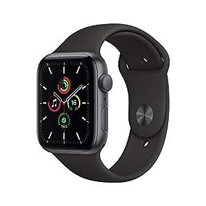 """最新 Apple Watch SE(GPSモデル)- 44mmスペースグレイアルミニウムケースとブラックスポーツバンド"""""""