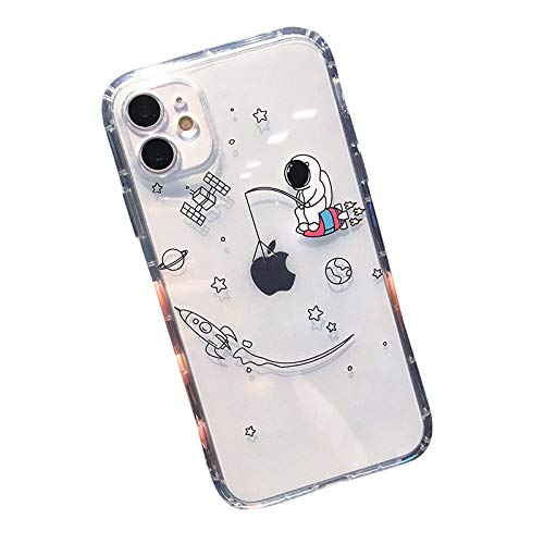 FancyCase Compatible with iPhone 12 (6.1inch)-Fun Space Pattern Soft Silicone Protective Transparent iPhone 12 Case (Fishing Astronaut)