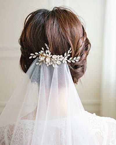 Simsly Peineta de novia de cristal para boda con diapositivas plateadas u...