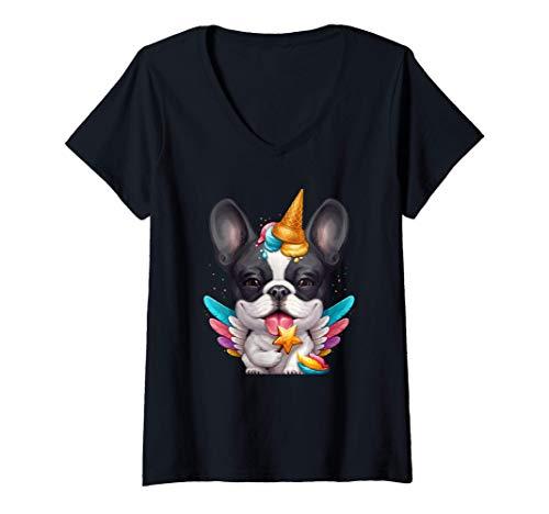 Womens Brindle Pied French Bulldog Ice Cream Unicorn V-Neck T-Shirt