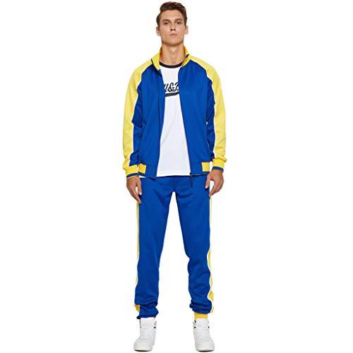 Herren Trainingsanzug Kontrast Fußball Sportanzug Fitnessstudio Fleece Kapuzenpullis Jogginghose Jogginghose Gym Set