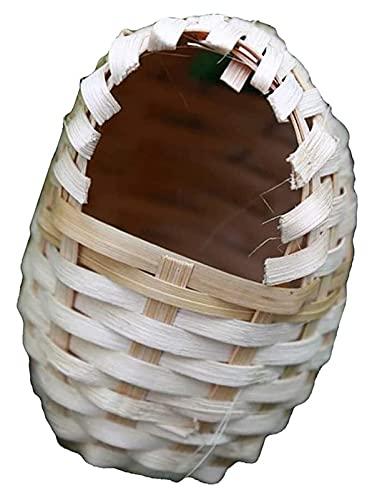 EURYTKS Casa Nido, Forma de Huevo, bambú Tejido a Mano, Jaula para nidos de pájaros, casa para incubar, Cueva de cría para Loros Canarios o cacatúas (tamaño: S: 9x7x11cm)