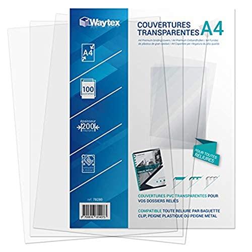 Waytex 78280-Confezione da 100 copertine per rilegature, in PVC, formato A4, trasparente
