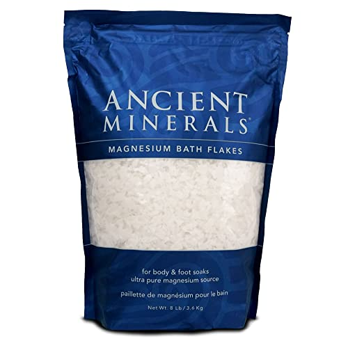 Ancient Minerals Magnesium Bath Flakes - Bathing Alternative to Epsom Salt - Soak in Natural Salts - High-Absorption Efficiency for Relaxation, Wellness & Muscle Relief - 8 lbs
