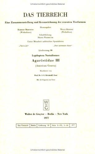 Das Tierreich / The Animal Kingdom / Lepidoptera Noctuiformes. Agaristidae III (American Genera)
