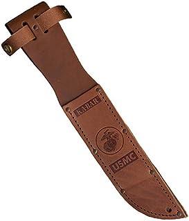 """KA-BAR 1217S, Leather Sheath, USMC Logo, Fits Knife with 7"""" Blade, Brown"""