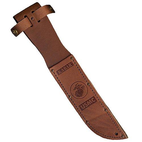 KA-BAR 1217S, Leather Sheath, USMC Logo, Fits Knife with 7' Blade, Brown