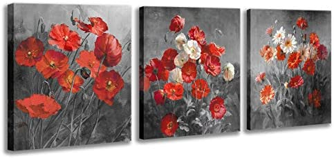 Red Flower Wall Art Blossom White Flower Wall Oil Painting Picture Black and White Style Artwork product image