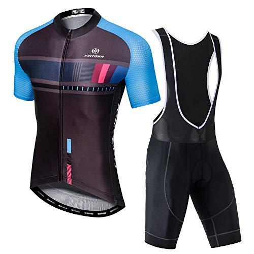 YFPICO Hombre Traje de Ciclismo Mailot Transpirable para Deportes al Aire Libre Ropa Ajustada Cuerpo, Negro Azul Tops+Pantalones Cortos de La Correa, 2XL