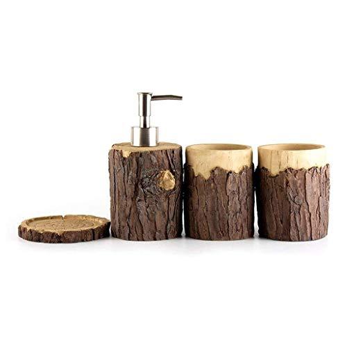 GYCS Dispensador de jabón para baño Accesorios de Resina Decorativa de baño Diseño de Cabeza de árbol Realista Dispensador de emulsión y Taza de Enjuague bucal Juego de Cuatro Piezas Dispensador