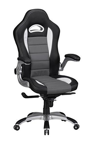 AMSTYLE Bürostuhl RACING Bezug Kunstleder Schwarz Design Schreibtischstuhl X-XL 120 kg Chefsessel höhenverstellbar Drehstuhl ergonomisch mit Armlehnen Racer hohe Rücken-Lehne Wippfunktion Race hoch