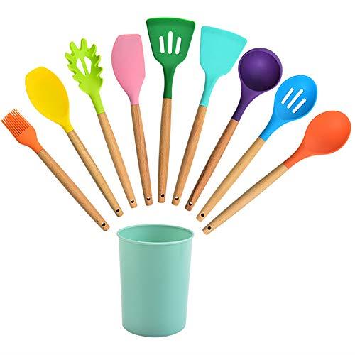 Set utensilios de cocina silicona de colores, con asas de madera, Lote de 11 utensilios de cocina de silicona antiadherente y resistentes al calor,Multi colored,9 pieces