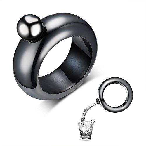 Amzwt Pulsera para hombre y petaca divertida de acero inoxidable con botella de vino oculta, el mejor regalo para padre/marido/novio (99 g), color negro
