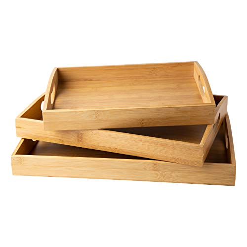 Bamboo Serving Trays with Handle – Set of 3 Wooden Trays That Nest – Large, Medium and Small Tray for Food, Ottoman Décor & More – 100% Eco-Friendly Bamboo Trays for Breakfast in Bed - Natural Color