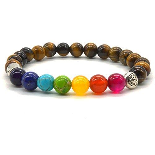 Pulsera de ojo de tigre, pulsera de piedras naturales de 7colores, pulsera para balance y curación
