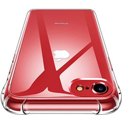 CANSHN Cover Compatibile con iPhone SE 2020,7,8, Custodia Trasparente per Assorbimento degli Urti con Paraurti in TPU Morbido [Protettiva Sottile] - Trasparente