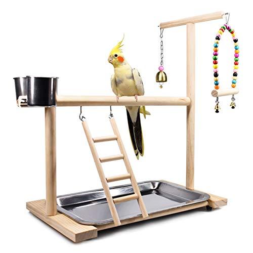 ZWW Patio De Juegos para Pájaros, Percha De Madera para Loros con Taza De Alimentador Escalera De Oscilación De Juguete | Periquito Juego Centro De Actividades Escritorio Gimnasio