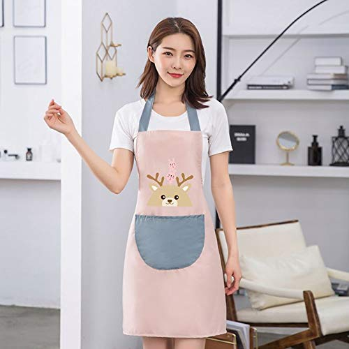 Adorable Cartoon Apron, Adjustable Neck Strap Kitchen Apron with Pocket and Erasable Hand for Cooking Gardening (Pink)