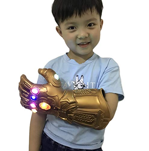 yacn Guante de guantelete infinito Thanos para adulto con guante de luz LED Avengers 4 Movie Toy