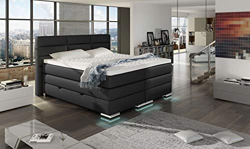 HG Royal Estates GmbH Roma Boxspringbett mit Bettkasten, Boxspring Bett, LED-Beleuchtung, Kaltschaum Topper, Härtegrad: H3, Schwarz Stoff Größe 160 x 200 cm
