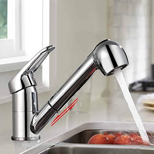 BONADE Küchenarmatur Ausziehbar Wasserhahn mit Zwei Strahlarten Verchromte Armatur Hochdruck 360° Drehbare Spültischarmatur Küche Einhebel Mischbatterie für Spüle