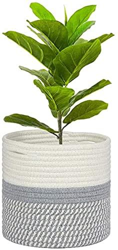 Canasta de algodón para Plantas, para macetas de Interior, Canasta de Almacenamiento Tejida, Organizador para lavandería, decoración Moderna para el hogar (25 * 25CM, Blanco + Gris)