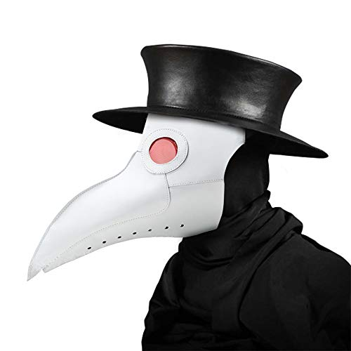 Womdee Plague Doctor Mask Becco in Pelle Sintetica, Punk di Costume di Halloween con Naso Lungo White