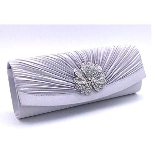 Xihou Europe Damen Clutch mit Blumenmuster, Plissee-Design, Abendkleid, Abendkleid, Wildtasche, 4 Farben Silber