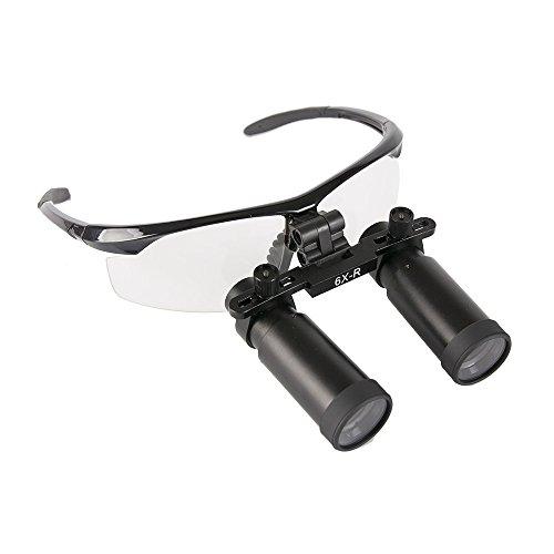 GoDen メガネ式拡大鏡 双眼ルーペ 高倍率 虫眼鏡 2.5倍/3.0倍/3.5倍/4.0倍/5.0倍/6.0倍 プラスチックフレーム (6.0X)