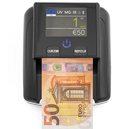Detecteur Faux Billet & Compteuse de Billets 2-en-1 - Detecteur Faux Billet UV/MG/IR pour Faux Billets Euros, Faux Dollars, Faux Billets Livre Sterling - Scanner portable compact et léger