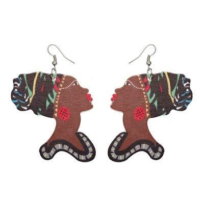 Damen-Ohrstecker Ohrringe Holzschmuck Anhänger Ohrring Afrikanerin Retro Muster für Design Geschenk