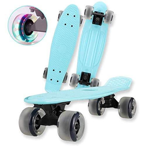 ZEH Skateboard mit LED-Licht bis Räder komplette Mini-Cruiser Retro Skateboard for Mädchen Jungen Teens Erwachsene, Anfänger, Rosa FACAI (Color : Blue)