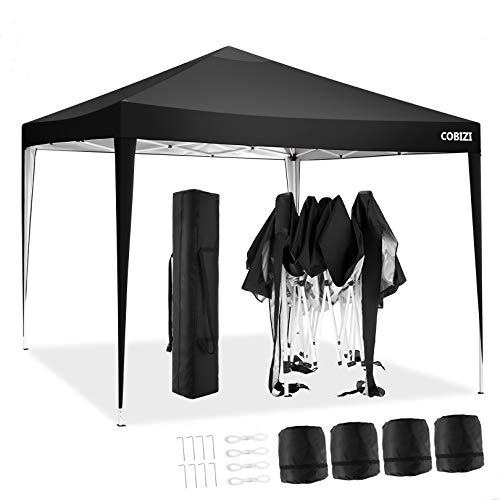 COBIZI Gazebo 3 x 3 m Pop Up Gazebo Tenda per feste Commerciale Rifugio Istantaneo Completamente Impermeabile con Telaio Antiruggine, Borsa per il Trasporto + 4 Pesi Gambali (3x3M, Nero)