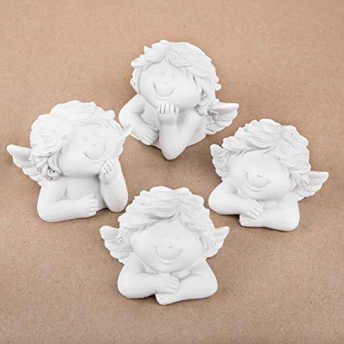 Logbuch-Verlag 4 Engel Köpfe Engelfiguren weiß - Büste als Gastgeschenk Give-Away Geschenk Taufe Kommunion Firmung Weihnachten Engeldeko