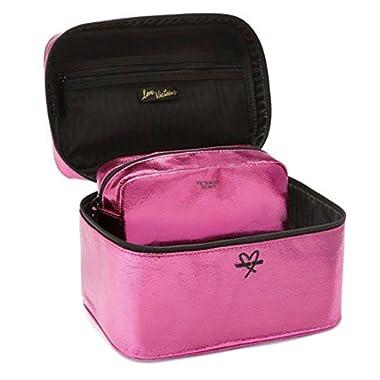 Victoria's Secret The Train Cosmetic Case Duo Beauty Bag Metallic Fuchsia