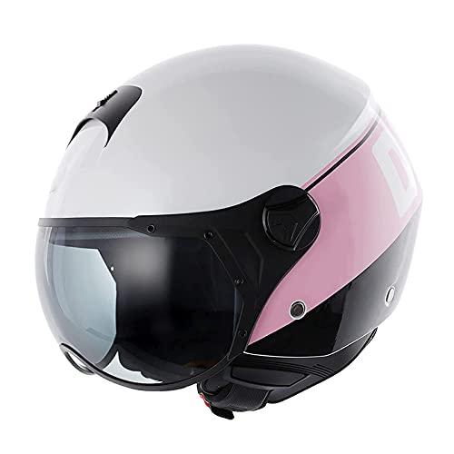 Casco 3/4 de cara abierta para motocicleta retro medio casco aprobado por ECE/DOT con estilo retro adecuado para scooter bicicleta crucero helicóptero ciclomotor casco jet C,M