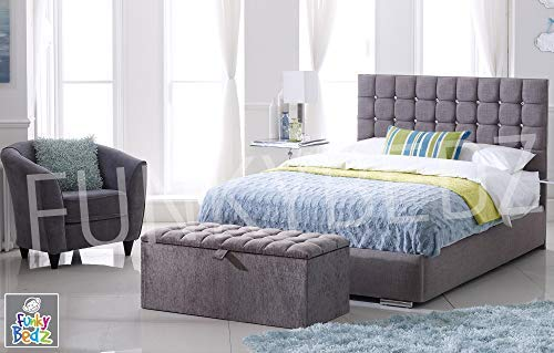 "Discounted Beds Contemporary Upholstered Bed Frame, Modern 48"" Headboard, Crushed Velvet Material, Handcrafted In The UK. 4Ft, 4Ft6, 5Ft, 6Ft - Sizes, Atlanta. (Superking 6ft)"