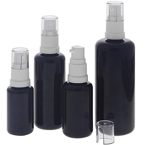 Gel-Spender aus Violett-Glas, Kosmetex Flasche mit Gelpumper für lichtempfindliche Lotionen, Gele, 4er-Set