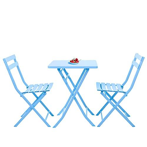 LHY Juego de 3 mesas para bistró de jardín y 2 sillas, Juego de Muebles para Patio al Aire Libre, balcón, Invernadero, Plegable, Resistente a la Intemperie,B3