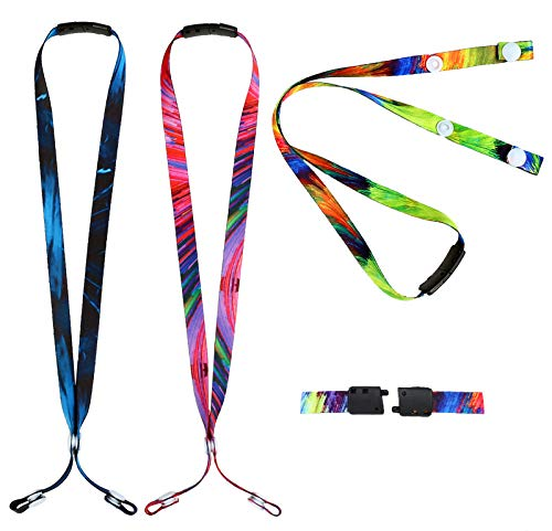 Kids Face Mask Lanyards,Breakaway Lanyard with Safety Breakaway Clasp Small Size Ear Saver Holder with Snap Button for Child Size Facemasks (Colorful...