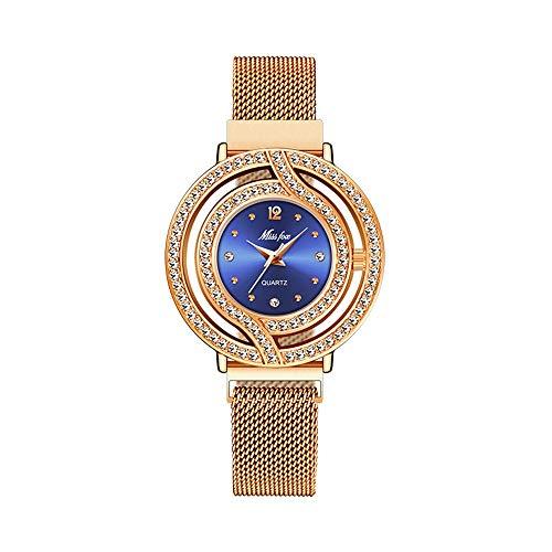 YIBOKANG Fashion Tendance Magnetic Magnetic Magnetic Watch Watch Watch Ladies Dance Portera Un Cadeau d'anniversaire Fine Steel Filet avec Montre À Quartz (Color : 4)