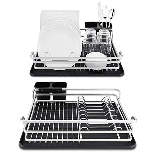 Escurreplatos de y aluminio - Compacto escurridor de platos con bandeja de goteo y desagüe giratorio - Rejilla escurreplatos con cubertero para la encimera