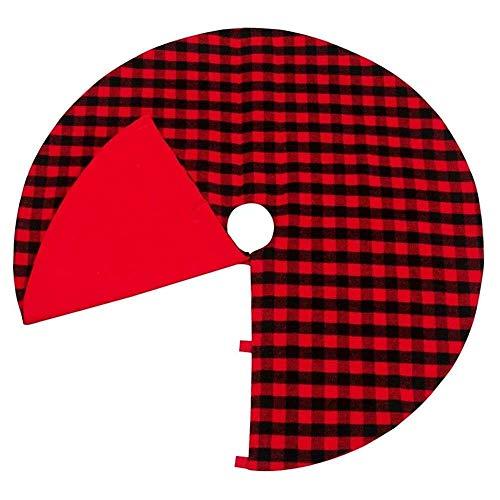YuKeShop Pannow - Falda de árbol de Navidad de 48 pulgadas, color rojo y negro a cuadros de doble capa, falda de árbol a cuadros para decoración de fiestas navideñas