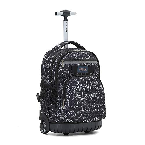 Tilami Rolling Backpack 18 inch Wheeled Laptop Backpack Waterproof School College Student Travel Trip Boys and Girls (Drawing Black)