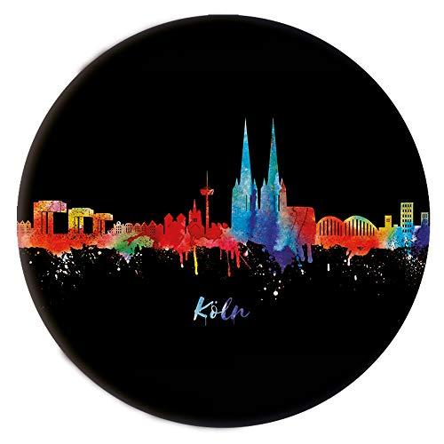 Kölner Ansteckbutton Neon- Button mit Köln Skyline - Durchmesser 3,8cm (div.Varianten) - 3er Set Anstecker