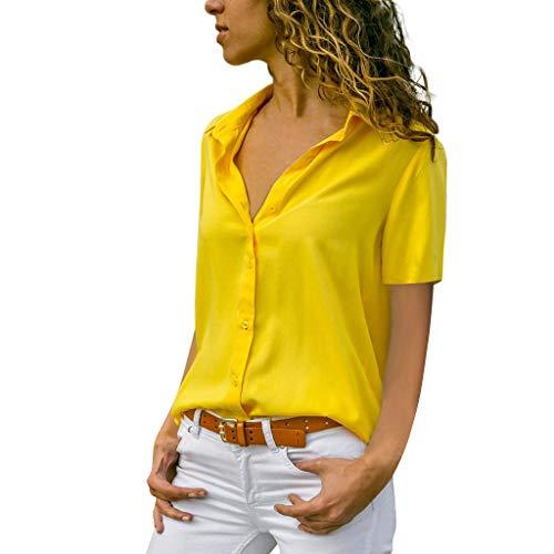 Xmiral Donna Camicia Bluse Donne Scollo a V Pulsante Manica Lunga T-Shirt Top Camicetta Confortevole Casa L Giallo